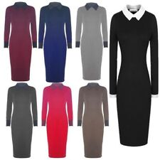 Plus Size Collared Long Sleeve Dresses for Women