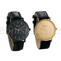 Men Simple Casual Ultra Thin Dial Genuine Leather Band Quartz Analog Wrist Watch