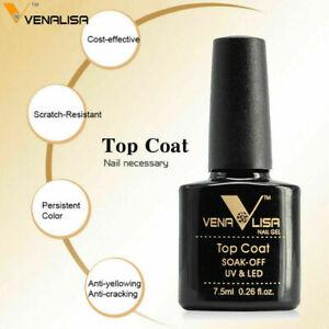 VENALISA TOP COAT Professional UV / LED Soak Off Nail Gel Polish Colour -7.5ml