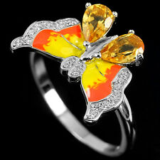 NATURAL CITRINE Birthstone & CZ Butterfly Enamel Sterling 925 Silver RING S7.0