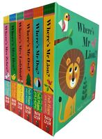 Where's Lion Zebra Ladybird Dog Hen by Ingela P Arrhenius 6 Books Collection NEW