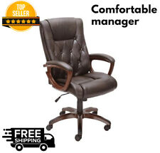 Heavy Duty Leather Office Brown High Back Rolling Computer Chair Executive Desk