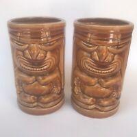 "2 ORCHIDS OF HAWAII TIKI GOD MUG VASE COCKTAIL ISLAND DECOR BROWN R-91 5 1/2"""