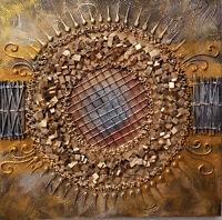 Quadro astratto texture cm 50x50 oro dipinto a mano  tela cotone telaio legno B