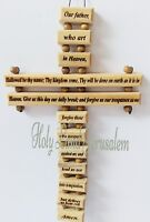 Jesus, Our Father Cross (English) holy land Jerusalem olive woodChristmas gifts