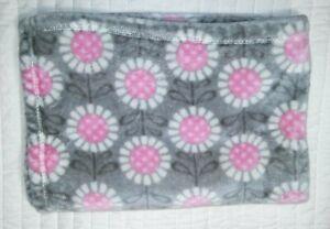 Baby Starters Gray White Pink Flower Blanket Lovey 30x40 Plush Polka Dot Girl