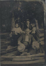 1/4 PLATE TINTYPE PORTRAIT OF TWO COUPLES OUTDOORS IN WOODS