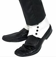 Mens White 1920s Gangster Spats Fancy Dress Costume Accessories 33459