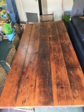Solid Wooden Dining Table with 6 Cane and Cast Iron Chairs