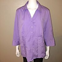 CJ Banks Button Down Shirt Plus Size 1X Womens Purple Ruched Stretch Blouse Top
