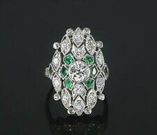 Vintage Estate Art Deco Platinum Old European Single Diamond Green Emerald Ring