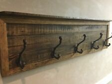 Handmade Rustic Style Hat An Coat Rack With Cast Iron Victorian Style Hooks