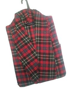 NEW MENS QUALITY TOOTAL RED CHECK TARTAN BRUSHED ROBE DRESSING GOWN Sz S M L XL