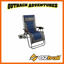 OZTRAIL SUN LOUNGE JUMBO RECLINER CAMPING ARM CHAIR RECLINING LAY BACK BEACH