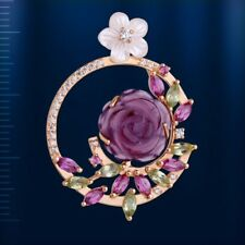 PENDANT ROSE amethyst rhodolite, mother of pearl, peridot Rose gold 14k/ 585 NWT