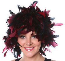 Wig Rooster Chandelle Feathers Halloween Clown Costume BLACK & BURGUNDY