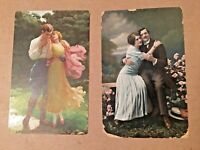 2 Antique Postcards w/ Loving Couples on the Front with Writing