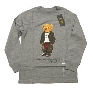 Polo Ralph Lauren Boys Gray Heather Polo Bear Graphic Long Sleeve T-Shirt