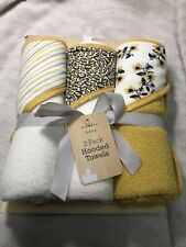 Modern Baby 3 Pack Hooded Towels~ NWT~ Unisex~ Yellow Deco~ Beautiful Pattern