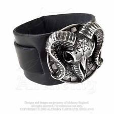 Alchemy Gothic Metalwear Gears of Aiwass Ram Skull Bracelet Pewter Leather A102