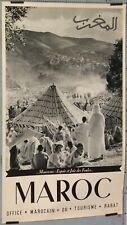 BELIN AFFICHE ANCIENNE MAROC MOUSSEMS ESPOIR ET JOIE DES FOULES  ci 1950