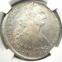 1803-Lima JP Peru Charles IV 8 Reales Coin 8R - NGC Uncirculated Detail (UNC MS)