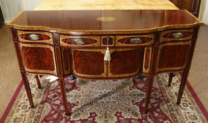 Fantastic Flame Mahogany Inlaid Sideboard Server Buffet By Millender Furniture