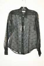 NWT - JILL MCGOWAN WOMEN'S BETH BLOUSE - BLACK - SILK - SMALL