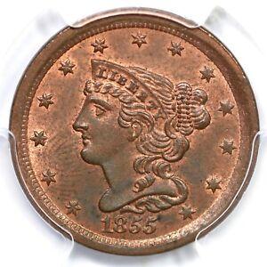 1855 PCGS MS 63 RB Braided Hair Half Cent Coin 1/2c