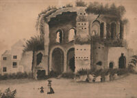 original 1861 Grand Tour watercolor TEMPLE OF MINERVA MEDICA, Roman ruins