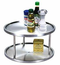 Cook N Home 10.5-Inch 2 Tier Lazy Susan Turntable Organizer, Stainless Steel