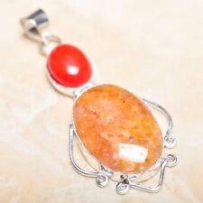 "Handmade Calcite Jasper Gemstone 925 Sterling Silver Pendant 2.5"" #P14626"
