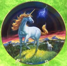 Fantasyland Unicorn Danbury Mint Plate Storm Racer 1993 Horse Meadow Lightening