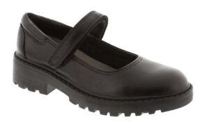 Geox J Casey Black Leather Chunky Ballerina School Shoes