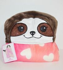 Justice Girl Wearable Heart Print Blanket Cozy Glitter Sloth Hood & Paw Mittens