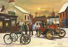 Large Christmas Card snow 1904 Wolseley 6hp 1900 Singer Motor Wheel Tricycle