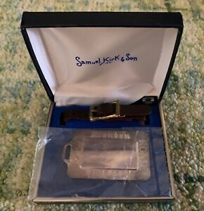 VTG Samuel Kirk & Son Luggage Tag London Rome Paris New York New with Box Silver