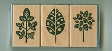 HERO ARTS rubber stamp set THREE DESIGNER LEAVES wood mounted, LP132, Trees Fall