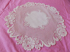 HERITAGE LACE IVORY/CREAM 20 INCH VICTORIAN ROSE DOILY BEAUTIFUL ITEM 2940