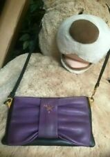 100% Auth PRADA Violet Lambskin Leather crossbody Bag purse Clutch Messenger