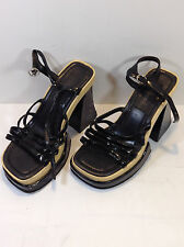 Girlfriends Black Strappy Wood High Heel Sandals size 7