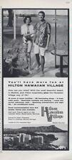 1962 Hilton Hawaiian Village PRINT AD Resort in Hawaii Great detailed deco