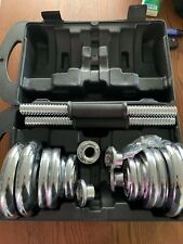 44lb Dumbbell Set Adjustable Dumbbells Chrome weights cap 552 20kg NEW Weight