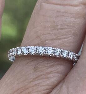 18K White Gold 1/2 CT Diamond Anniversary Band Ring SI1-2/F-G 5.25