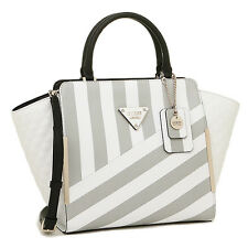 GUESS Amber White Black & Gray Stripe Faux Leather Satchel Tote Bag NEW