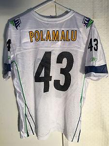 Reebok Women's NFL Jersey Pittsburgh Steelers Troy Polamalu White Superbowl 43 S