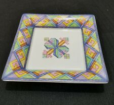 "Artoria LIMOGES France Abstract Geometric 6"" Square Dish / Trinket Tray"