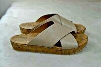 KORKS Kork Ease Joly Beige Leather Cork Platform Criss Cross Slides Sandals 9