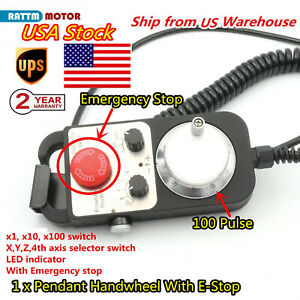 4 Axis Handwheel 100 Pulse 5V MPG Pendant with emergency stop for CNC System【US】