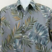 Tori Richard Mens L Blue Gray Leaf Print Cotton Lawn Aloha Hawaiian Shirt